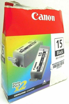 Genuine Canon BCI-15 Black Ink Tank Twin Pack for i70 Printer - Lot of 2