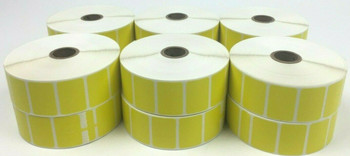 """Genuine Honeywell Label E26249 1.5"""" x 1"""" Direct Thermal Labels 12 Rolls - Yellow"""