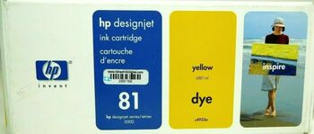 Genuine HP 81 Yellow Dye Ink Cartridge C4933A for DesignJet Series 5000 - 680ml