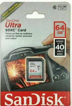 Genuine SanDisk Ultra 64 GB SDXC Flash Memory Card 40MB/s 266X - Twice as fast