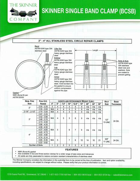 """BCSB Single Band 7 1/2"""" Wide - 2 Bolts"""