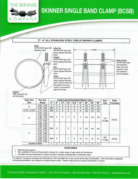 """BCSB Single Band 15"""" Wide - 4 Bolts"""