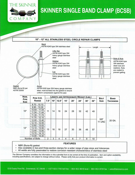 """BCSB Single Band 20"""" Wide - 6 Bolts"""