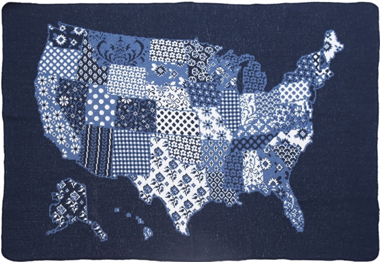 US Map Quilt Mid. Throw 75% Recycled Cotton Knit Throw Blanket   green 3