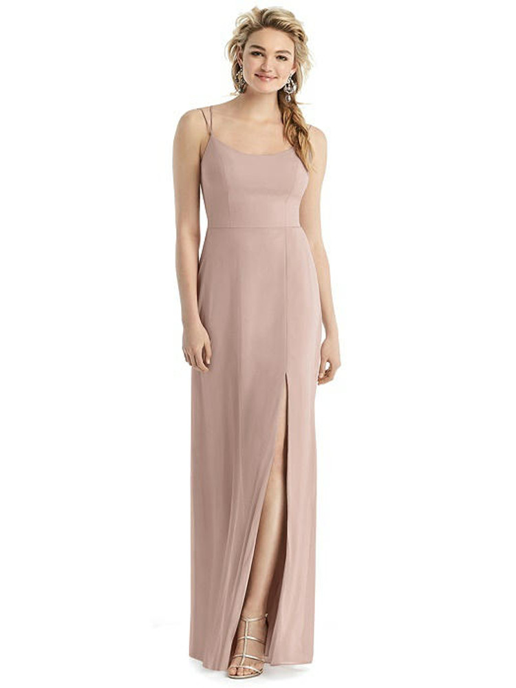 Cowl-Back Double Strap Maxi Dress with Side Slit style 1520 by After Six in 63 colors