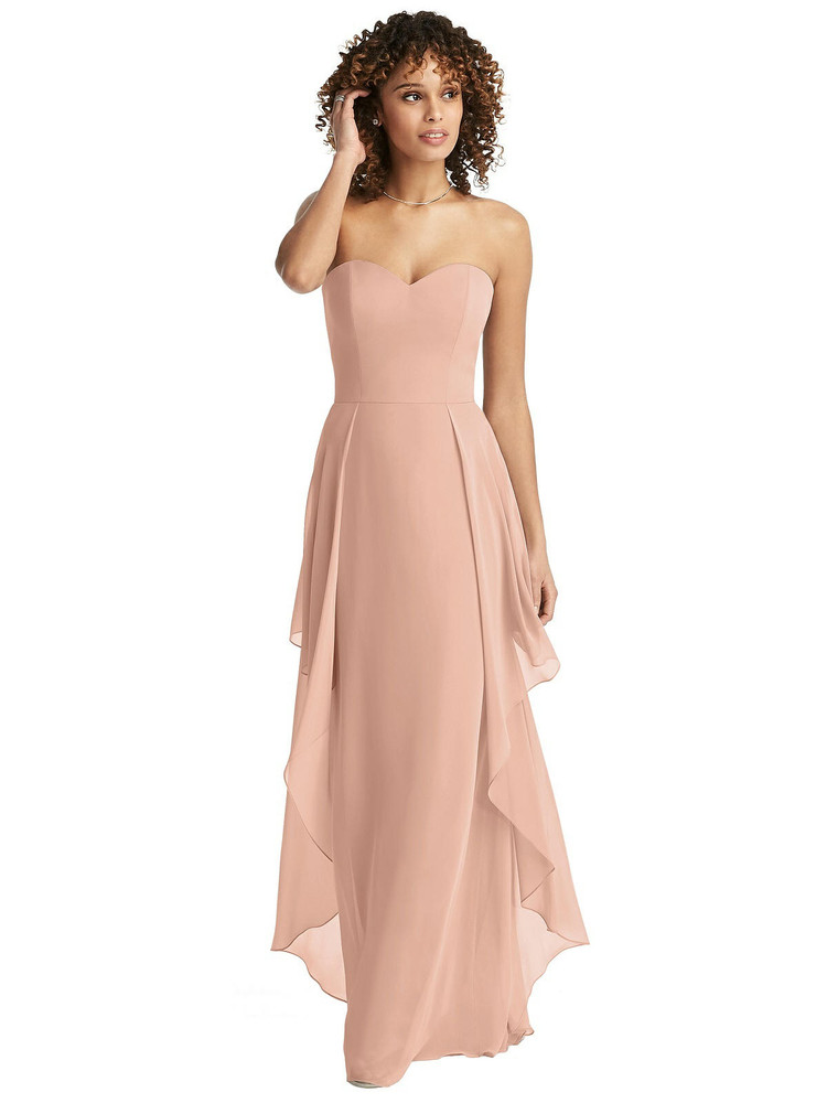 Strapless Chiffon Dress with Skirt Overlay by Social Bridesmaids Dress 8195 in 64 colors
