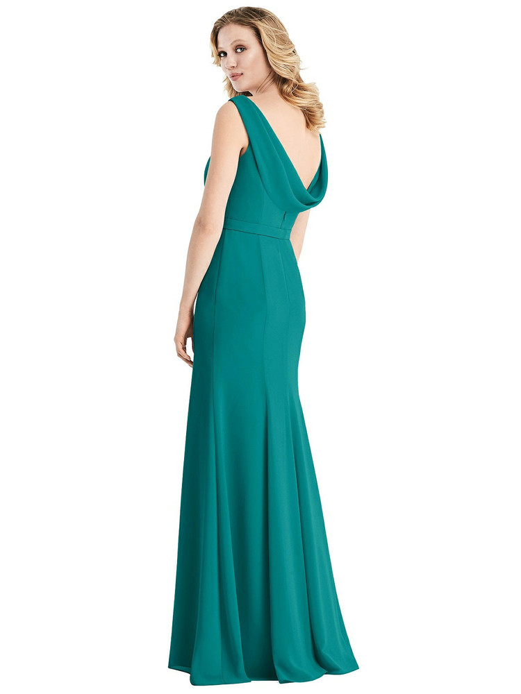 Sleeveless Cowl-Back Trumpet Gown by Jenny Packham Dress JP1032 in 34 colors in jade