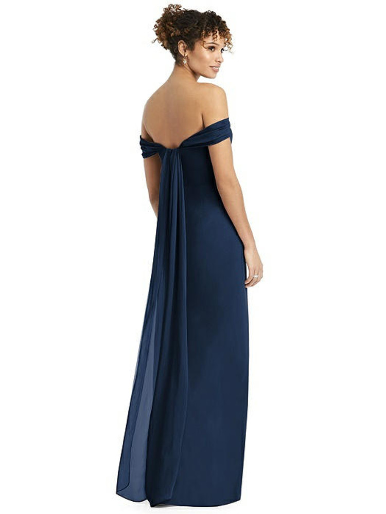 Draped Off-the-Shoulder Maxi Dress with Shirred Streamer by Studio Design 4543 in 61 colors