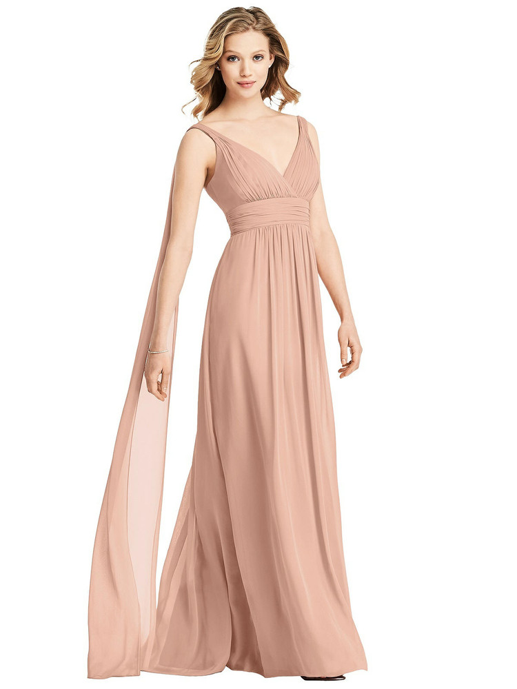 V-Neck Chiffon Gown with Streamer at Back Strap By Jenny Packham Dress JP1027 in 63 colors