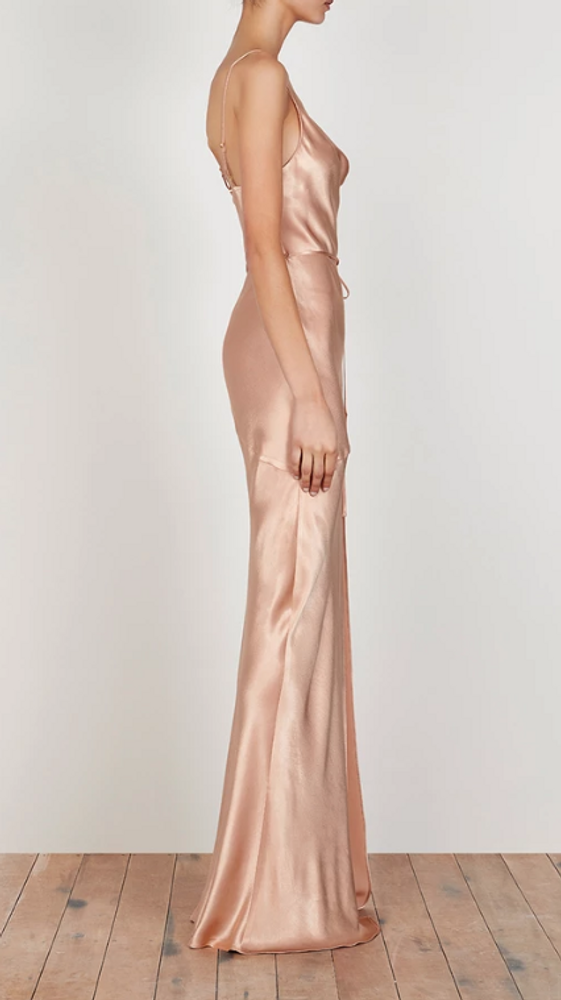 LA LUNE BIAS COWL MAXI DRESS - DESERT ROSE