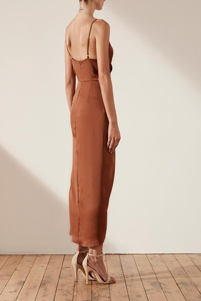 LUXE TIE FRONT COCKTAIL DRESS - MOCHA