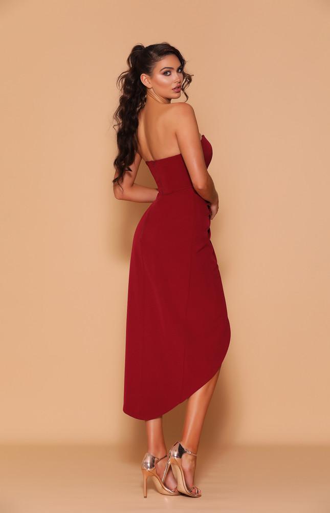 Oakley Dress By Les Demoiselle LD1131 Strapless Sweetheart Wrapped Tulip Skirt Midi Length Cocktail Dress