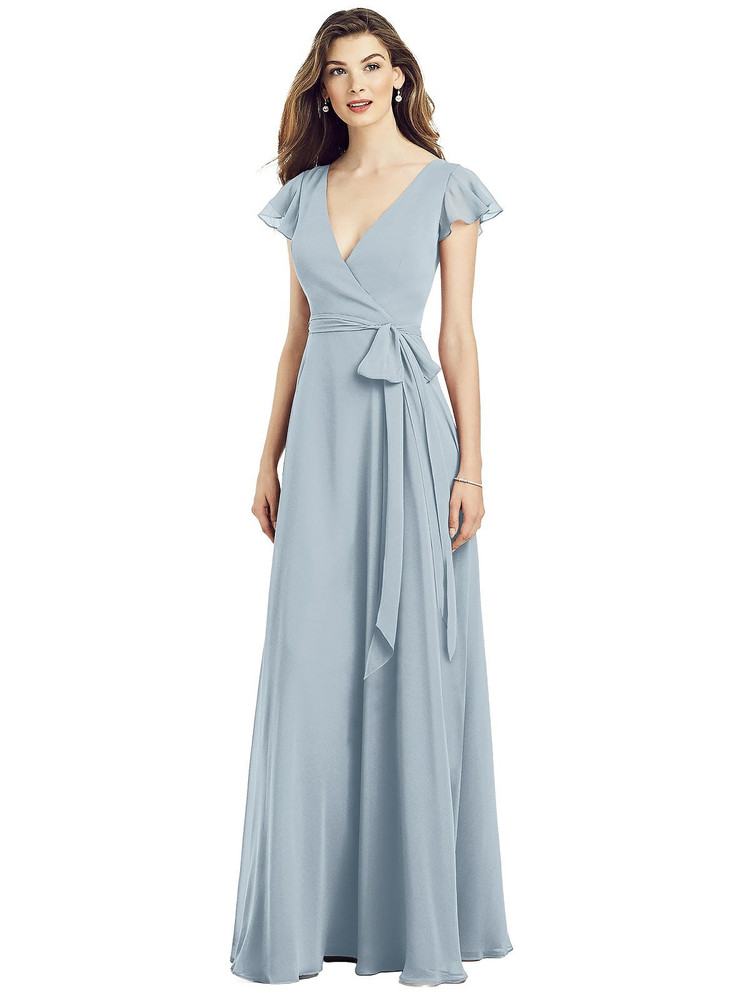 Flutter Sleeve Faux Wrap Chiffon Dress by After Six 6817 in 64 colors