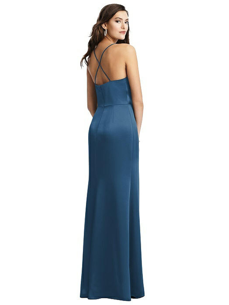 Cowl-Neck Charmeuse Gown with Criss Cross Back DG3056