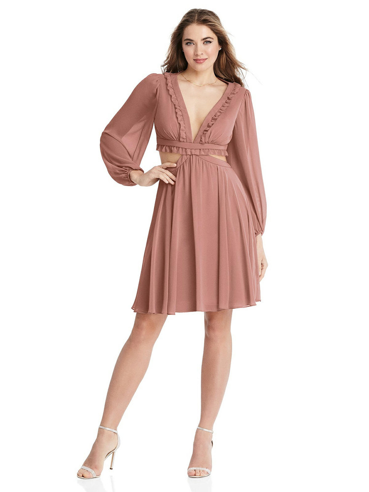Hannah- Bishop Sleeve Ruffled Chiffon Cutout Mini Dress