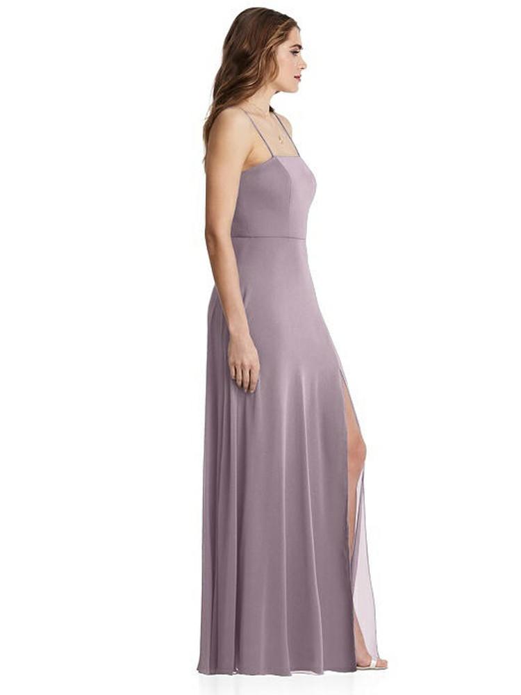 Elliott - Square Neck Chiffon Maxi Dress with Front Slit