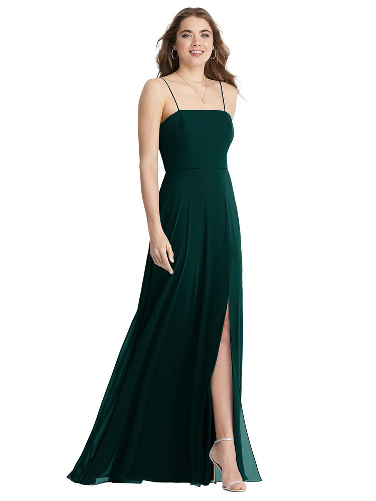 Elliott - Square Neck Chiffon Maxi Dress with Front Slit available in 63 colors