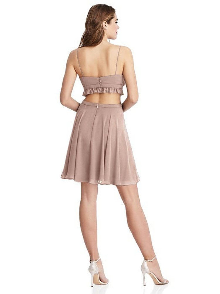 Joey - Ruffled Chiffon Cutout Mini Dress