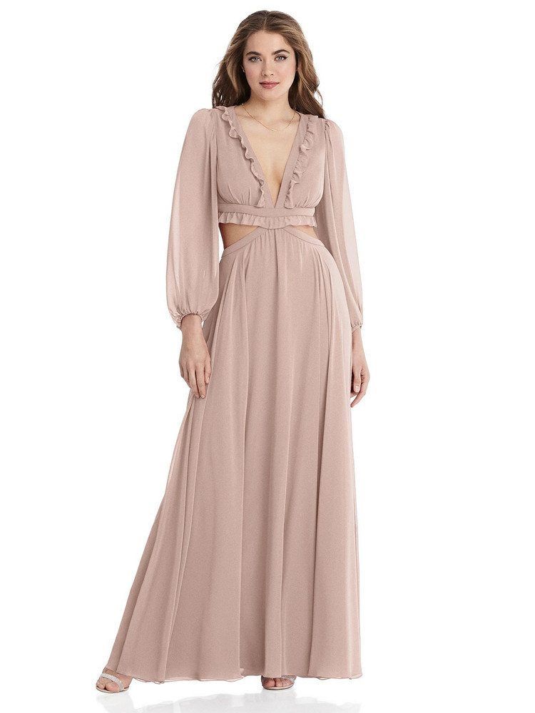 Harlow - Bishop Sleeve Ruffled Chiffon Cutout Maxi Dress