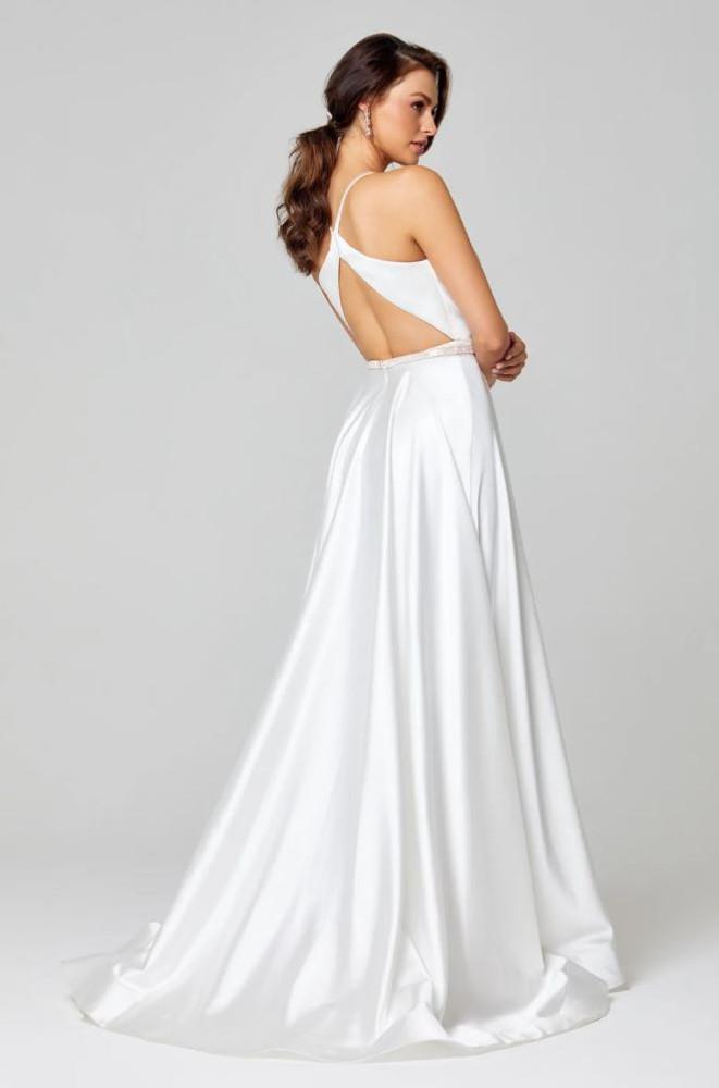 Olive Satin A-Line Formal Dress by Tania Olsen