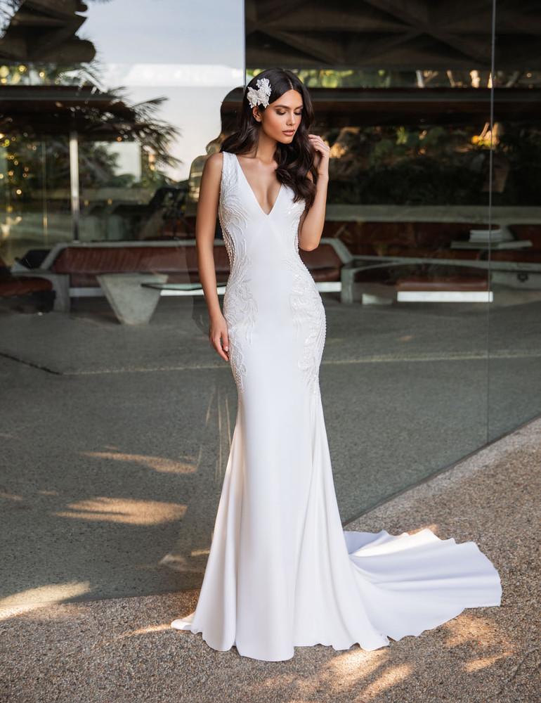 Kelly Crepe Mermaid Wedding Gown by Pronovias