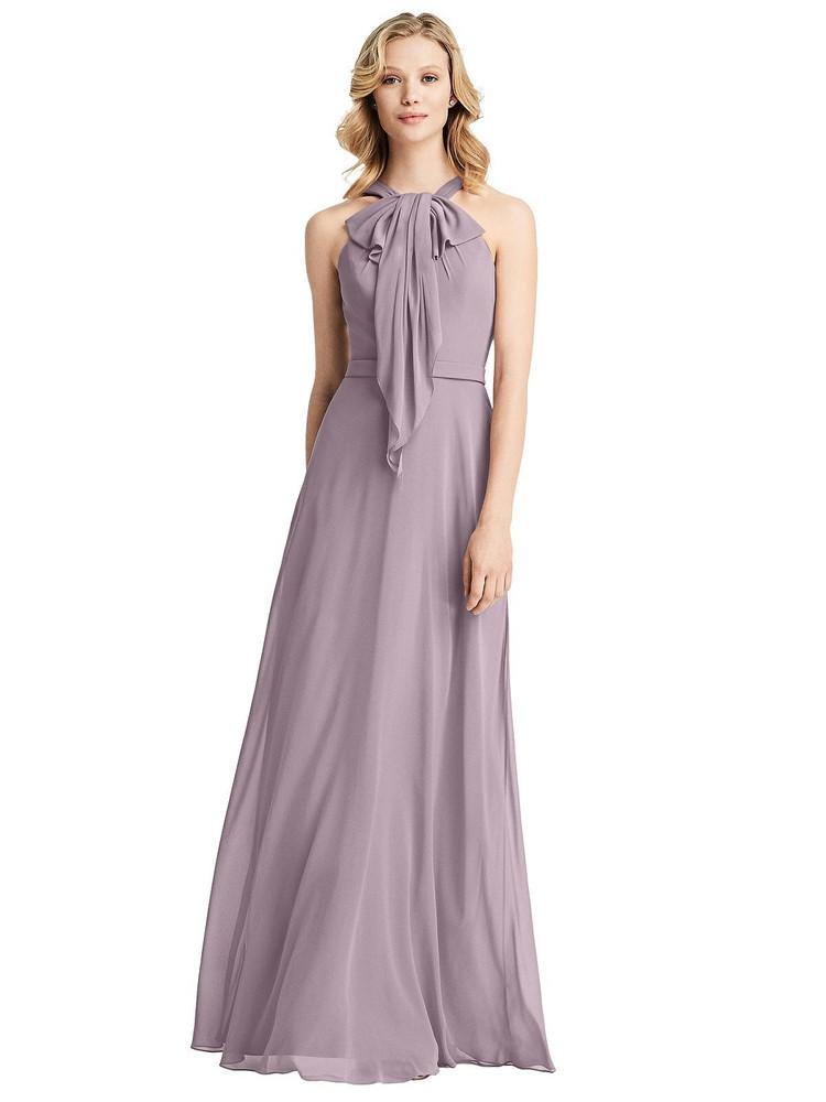 Ruffle Halter Chiffon Maxi Dress by Jenny Packham Dress JP1029 in 63 colors in lilac dusk