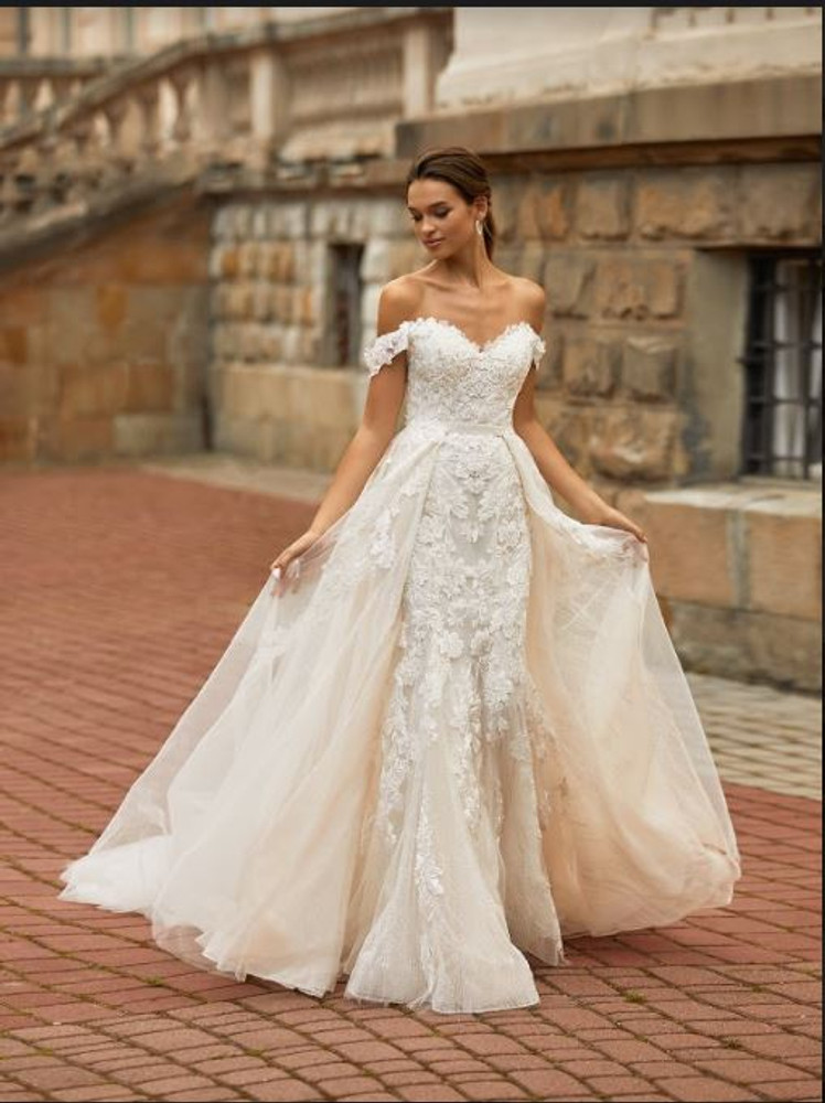 Dahlia Wedding Gown with Overlay Skirt H1467 by Moonlight Bridal