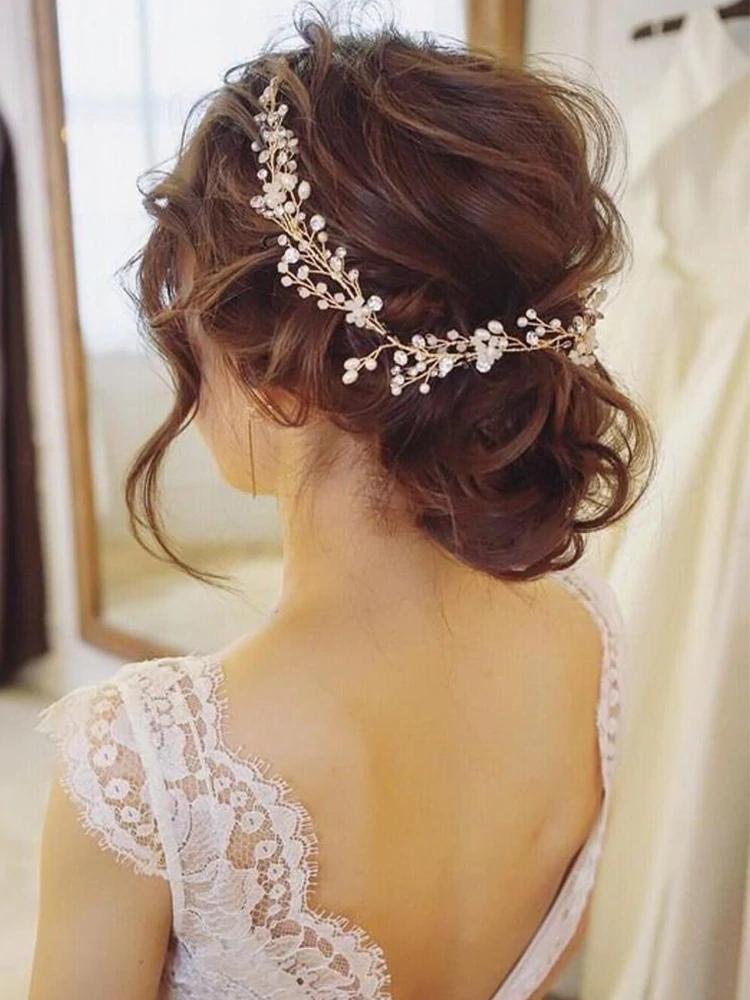 Wedding Headdress Pearl Crystal Gold 50cm