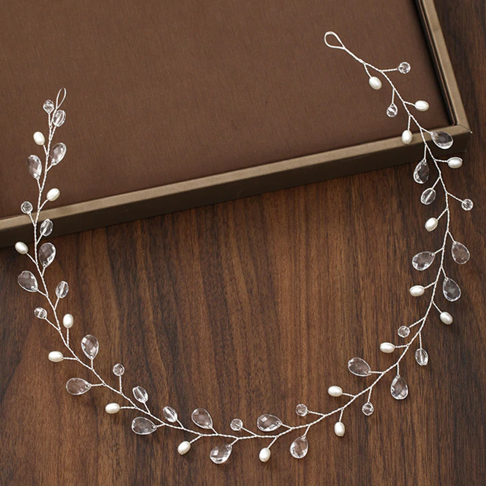 Wedding Hairpiece Pearl Crystal Silver 43cm