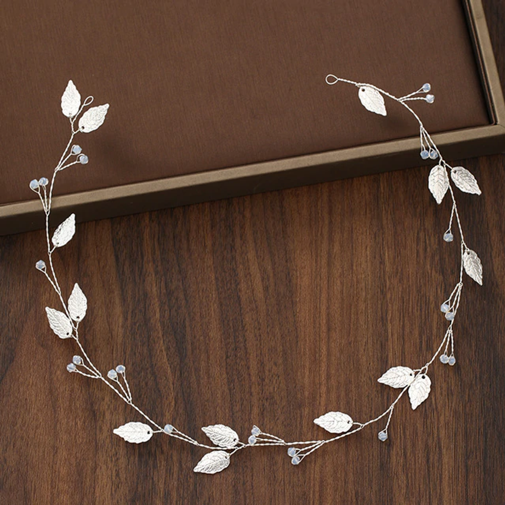 Wedding Hairpiece Silver Leaf Crystal