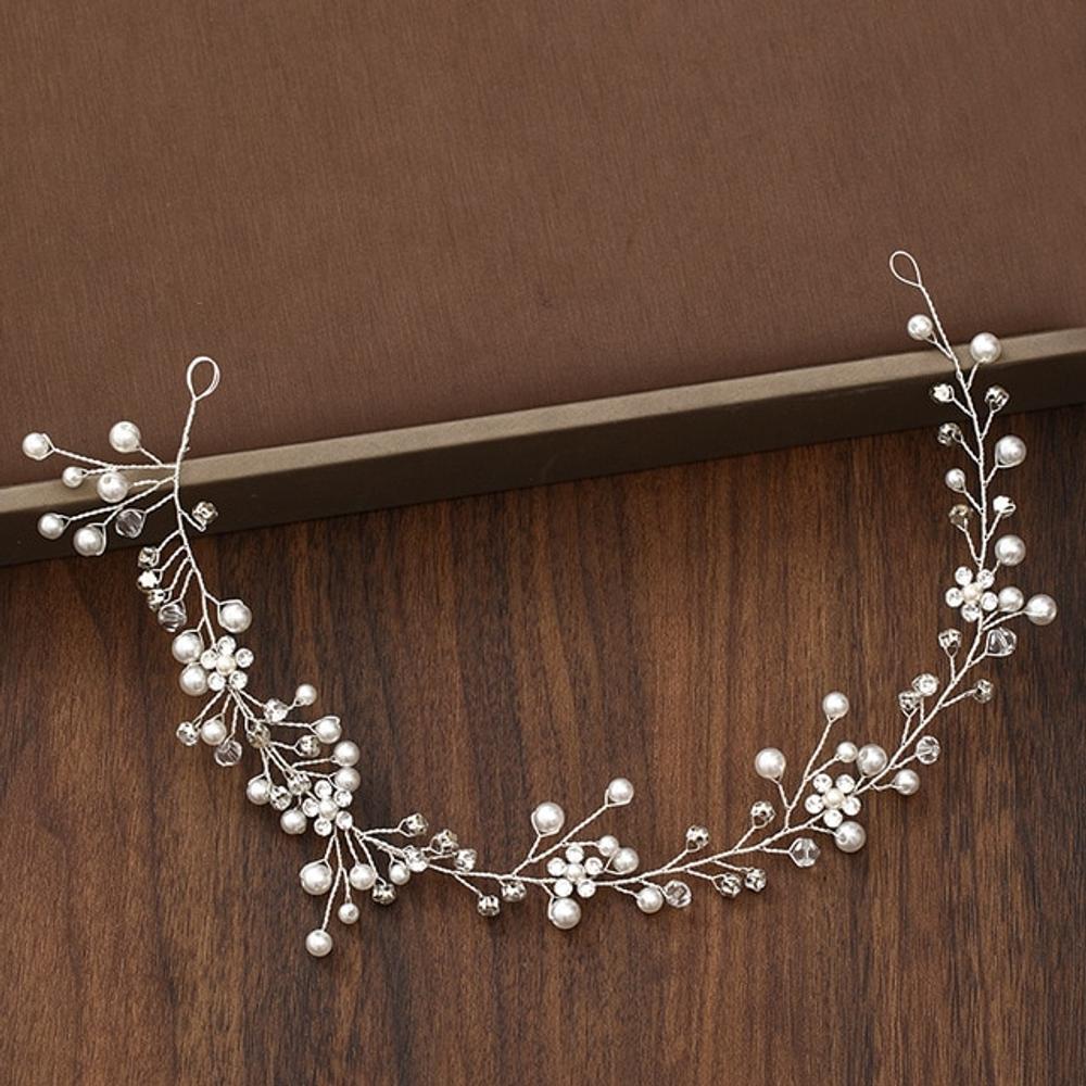 Wedding Headdress Silver Floral Pearl