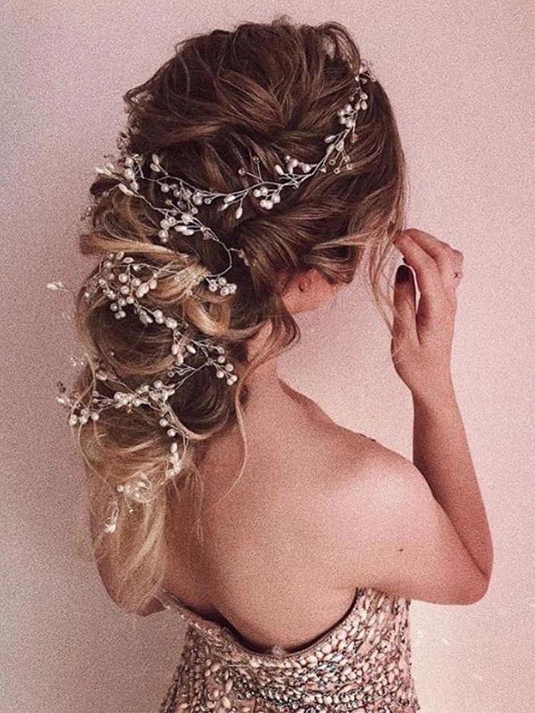 Wedding Headdress Gold Pearl Crystal