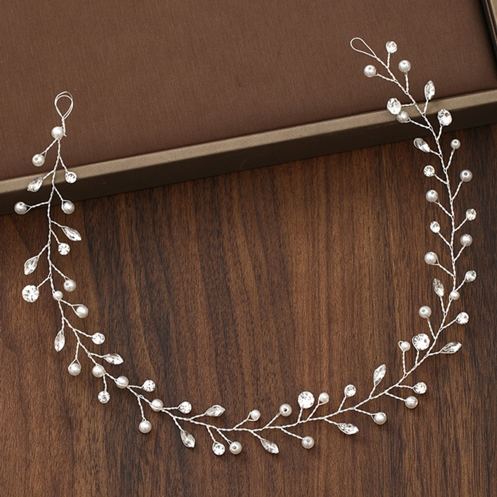 Wedding Hairpiece Silver Pearl Crystal