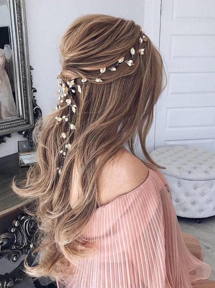 Wedding Hairpiece Silver Leaf Pearl 60cm