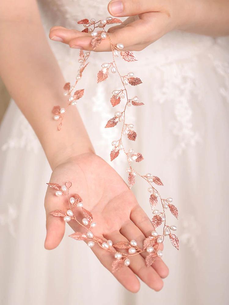Wedding Hairpiece Rose Gold Leaf Pearl 60cm