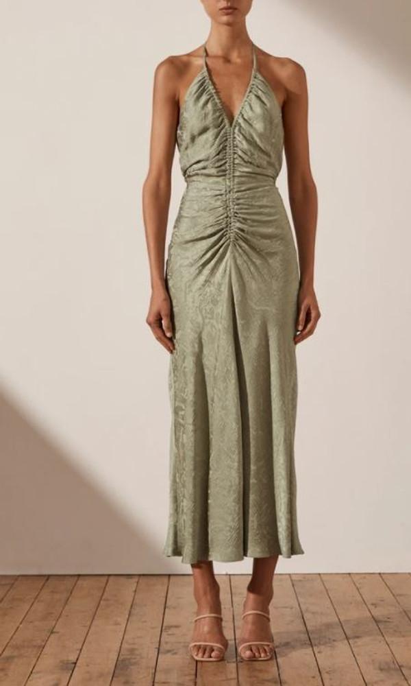 Mia Halter Ruched Midi Dress
