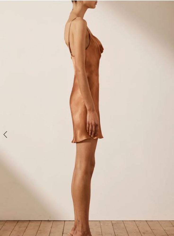 GALA BIAS MINI SLIP DRESS - Copper