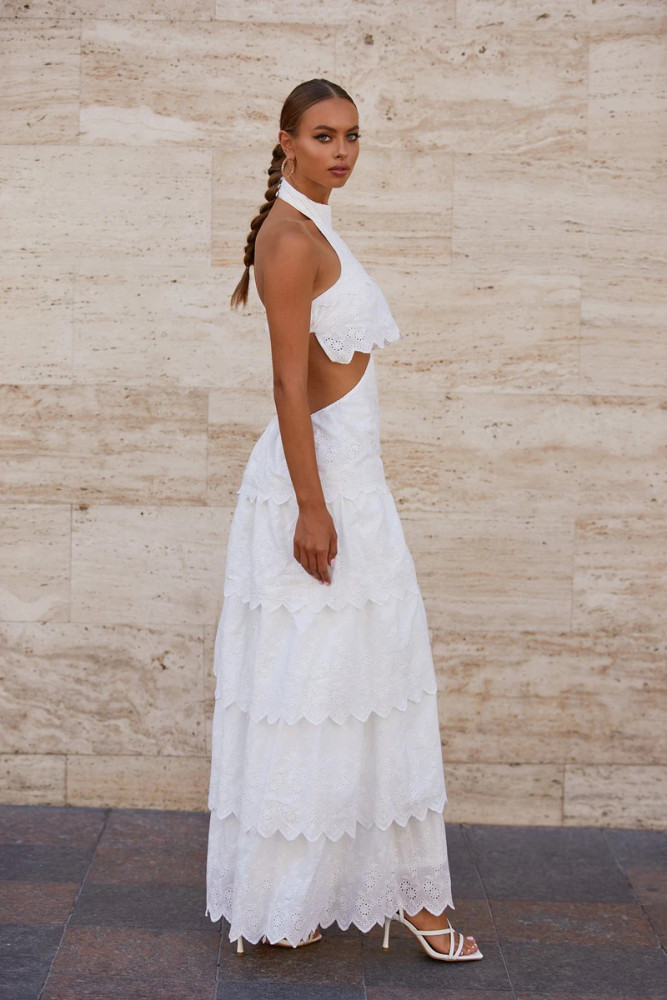 Kalia Dress - White Eyelet A-line Maxi with High Neck & Cut-out Waist
