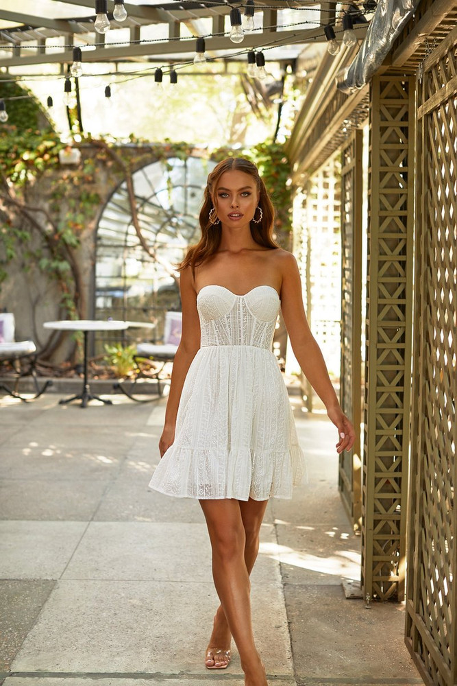 TATI DRESS - WHITE STRAPLESS LACE A-LINE MINI DRESS WITH LACE-UP BACK