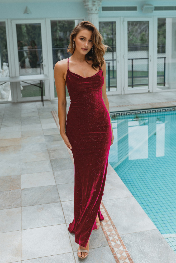Carlisle Gown by Tania Olsen in Wine