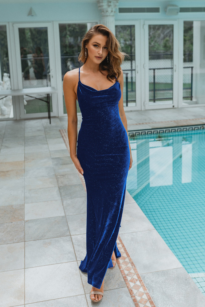 Carlisle Gown PO903 by Tania Olsen Cowl Neckline Sparkle Stretch Velvet Low Back Fitted Dress