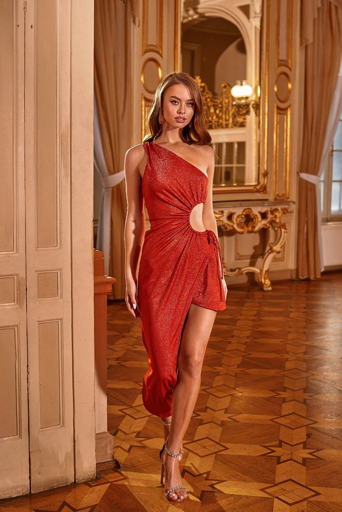ANTONIA DRESS - SHIMMERING ORANGE ONE SHOULDER MIDI DRESS WITH CUT OUT