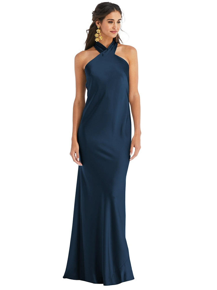 Draped Twist Halter Tie-Back Trumpet Gown - Imogen available in 22 colors