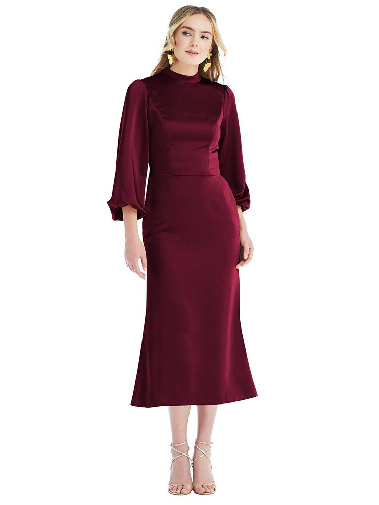 High Collar Puff Sleeve Midi Dress - Bronwyn available in 22 colors