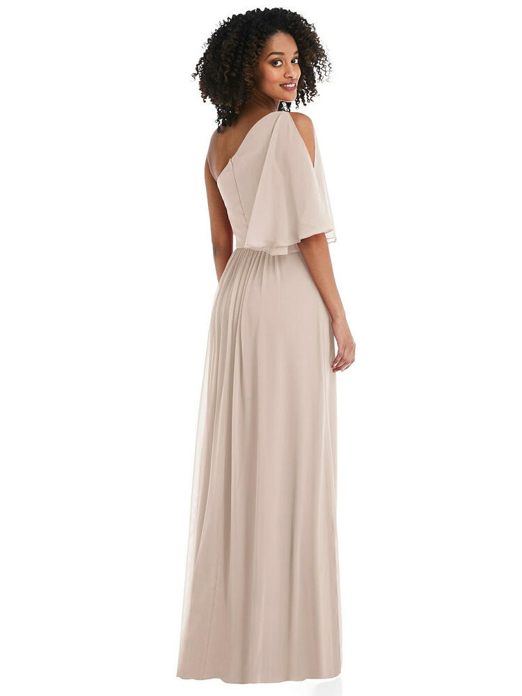 One-Shoulder Bell Sleeve Chiffon Maxi Dress style 1546 available in 63 colors