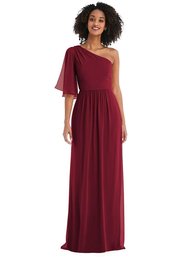 One-Shoulder Bell Sleeve Chiffon Maxi Dress style 1546