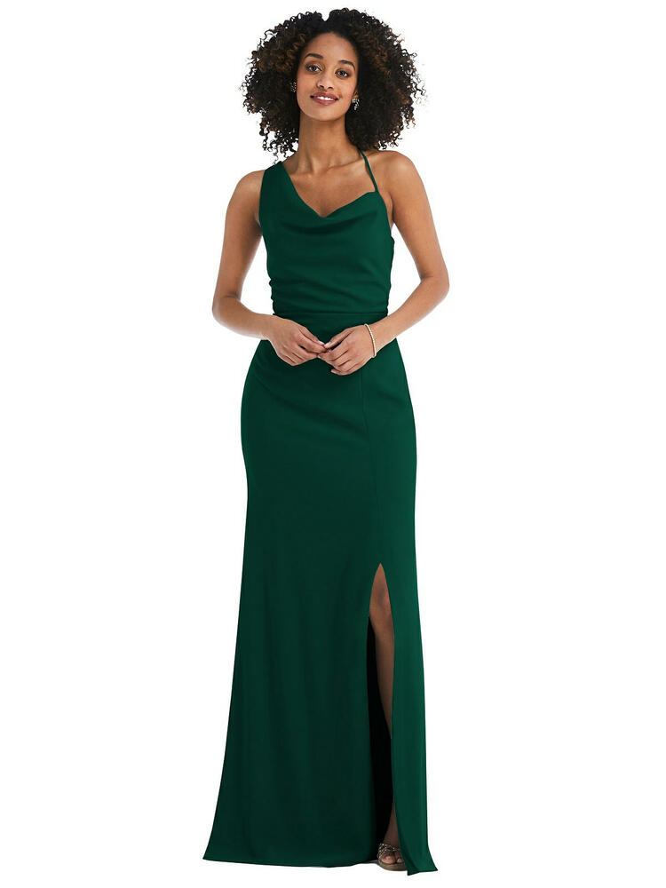 One-Shoulder Draped Cowl-Neck Maxi Dress style 6849 available in 35 colors