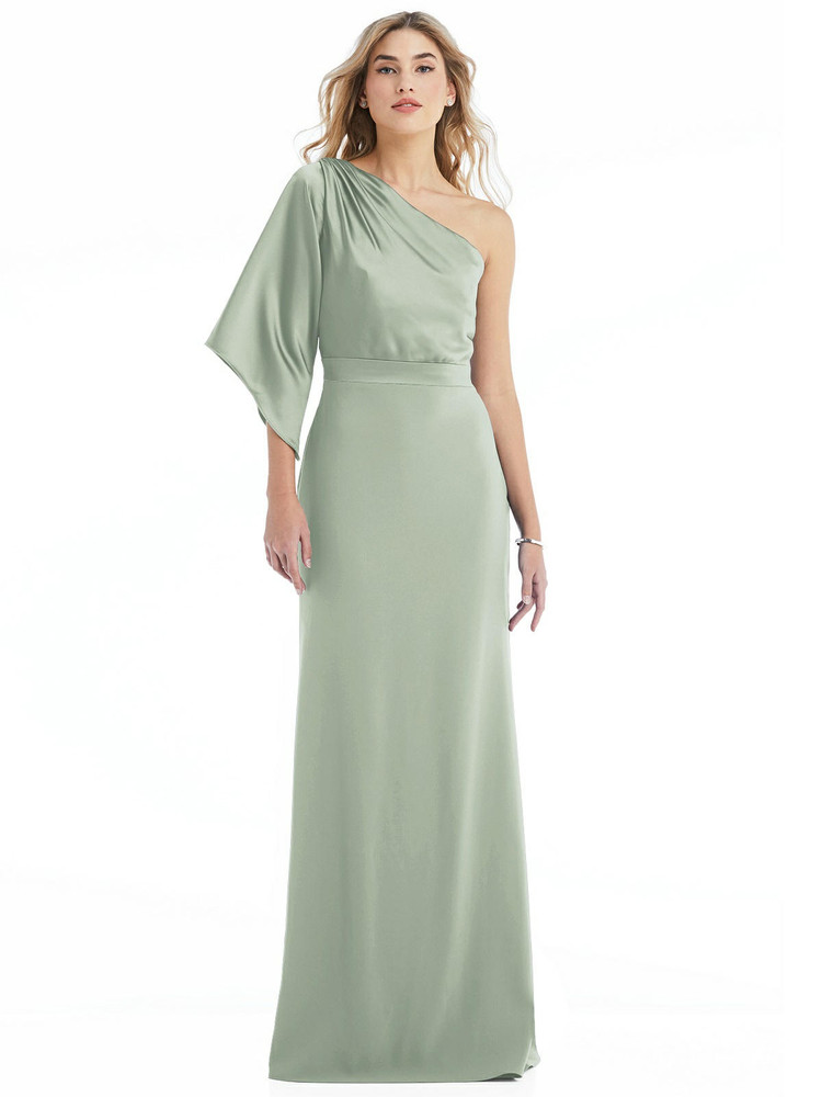 One-Shoulder Bell Sleeve Trumpet Gown style 6840 available in 37 colors
