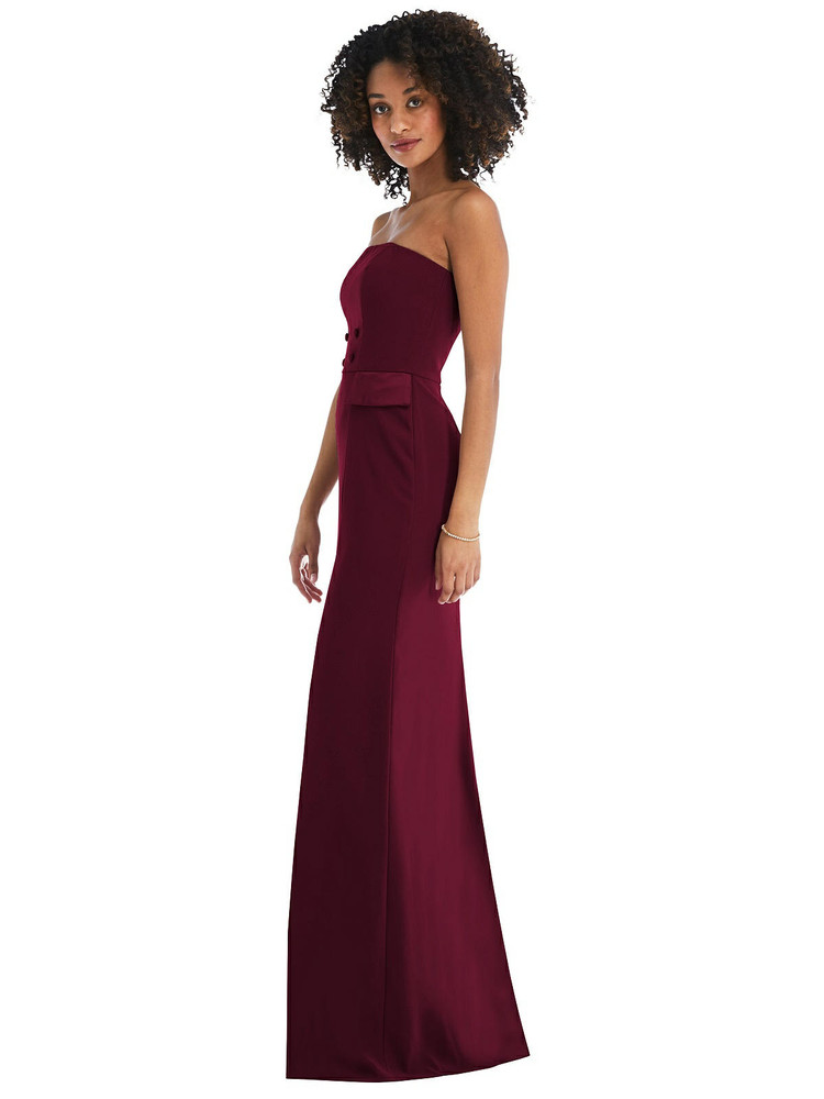 Strapless Tuxedo Maxi Dress with Front Slit style 6841 available in 15 colors