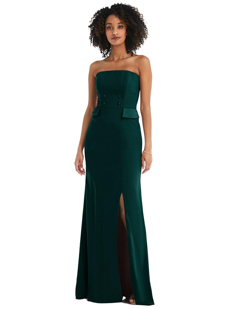 Strapless Tuxedo Maxi Dress with Front Slit style 6841 available in 17 colors
